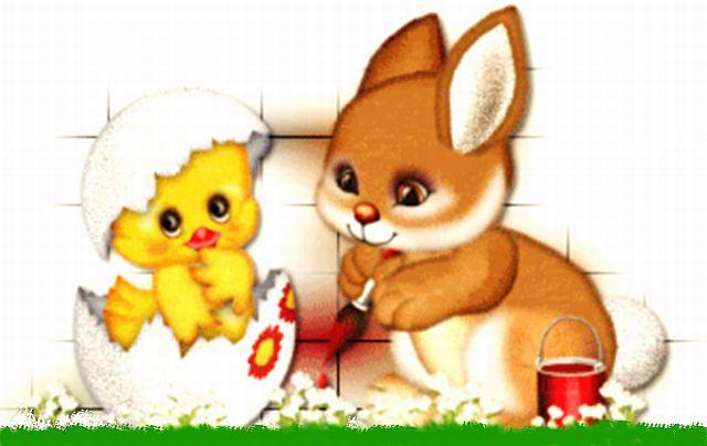 Pilić i zeko su neki simboli uskrsa za djecu.Obično zeko nosi ...
